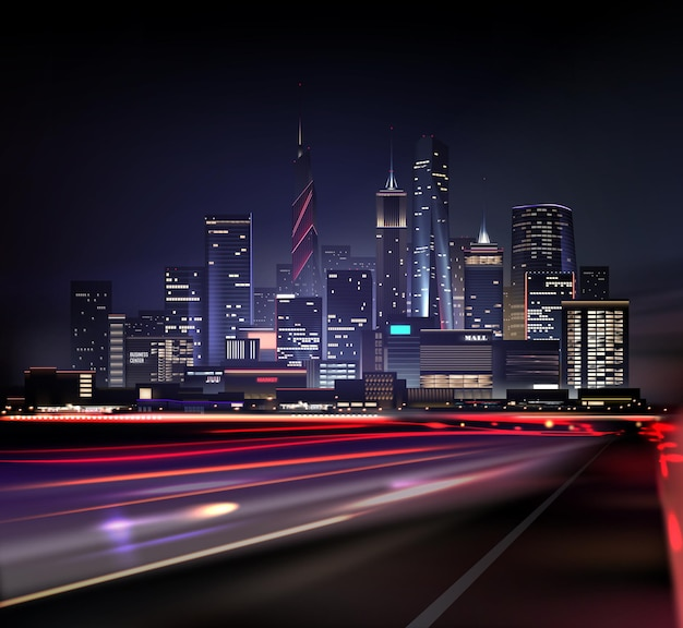 Realistyczny nocny krajobraz miasta z drapaczami chmur i drogą ze światłami z ruchu samochodów