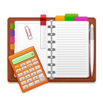 Realistyczny notatnik open organizer, długopis, kolorowe naklejki i kalkulator. koncepcja projektu biznesowego ilustracji wektorowych