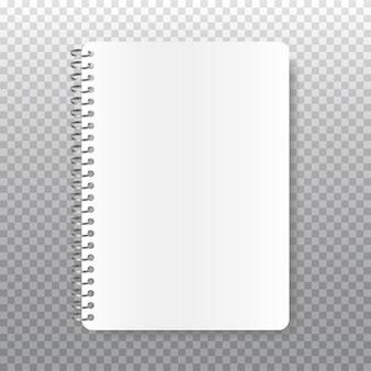 Realistyczny notatnik spiralny. biała księga na twój tekst. puste pagi zeszytu szkolnego na białym tle.