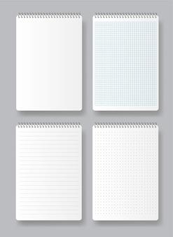 Realistyczny notatnik spiralny. różne białe księgi dotyczące tekstu. puste strony zeszytu szkolnego z marginesami