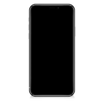 Realistyczny nowoczesny smartfon na białym tle.