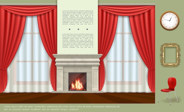 Realistyczny nowoczesny szablon wnętrza domu z kominkiem czerwone zasłony zegar ozdobna rama wygodna ilustracja krzesła,
