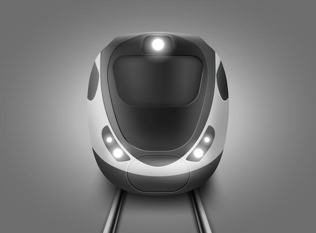 Realistyczny nowoczesny widok z przodu pociągu metra