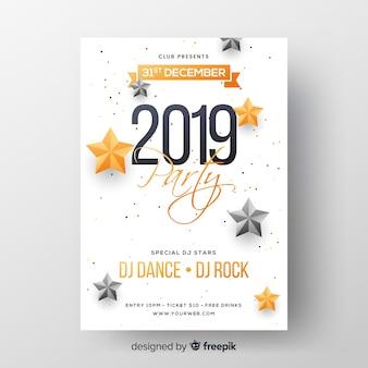 Realistyczny nowy rok 2019 szablon strony ulotki