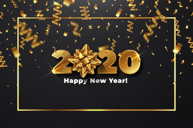 Realistyczny nowy rok 2020 z motywem tapety z kokardą na prezent
