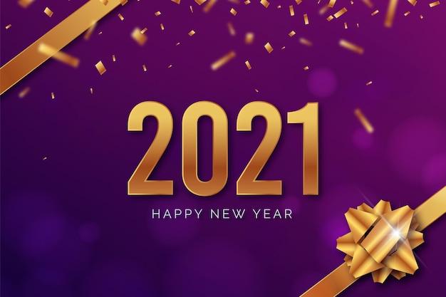 Realistyczny nowy rok 2021 ze wstążką