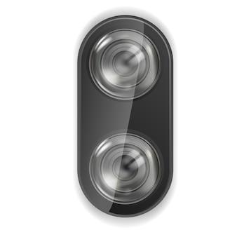 Realistyczny obiektyw aparatu. aparat w obiektywie smartfona