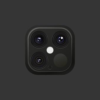 Realistyczny obiektyw aparatu w kolorach czarnym i srebrnym na smartfonie lub innych gadżetach z lampą błyskową