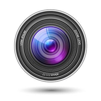 Realistyczny obiektyw aparatu z odbiciami