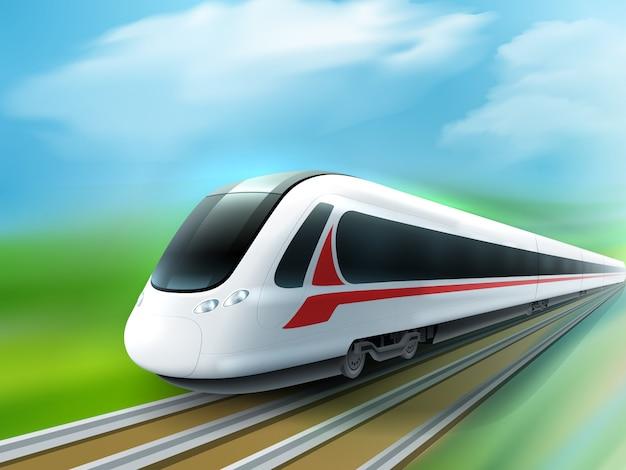 Realistyczny obraz z szybkim pociągiem dziennym