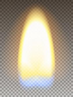 Realistyczny ogień. Płomień zapałki o żółtym i niebieskim przekroju. Siatka przezroczystości.