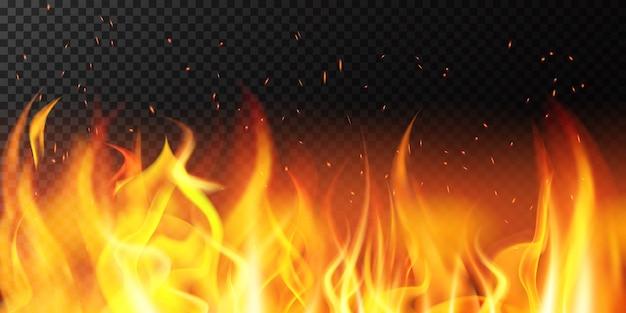 Realistyczny ogień. płomień jasna granica, ogniste iskierki płonący sztandar, gorąca czerwona płonąca ilustracja dekoracji tła. ogień i łatwopalność, granica ogniska