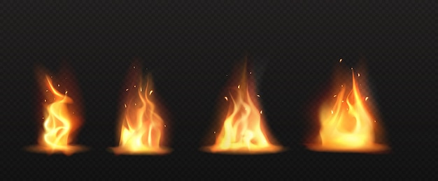 Realistyczny ogień, płomień pochodni zestaw na białym tle clipart