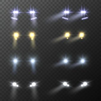 Realistyczny okrągły jasny reflektor samochodowy