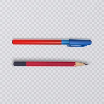 Realistyczny ołówek i długopis na przezroczystym tle,
