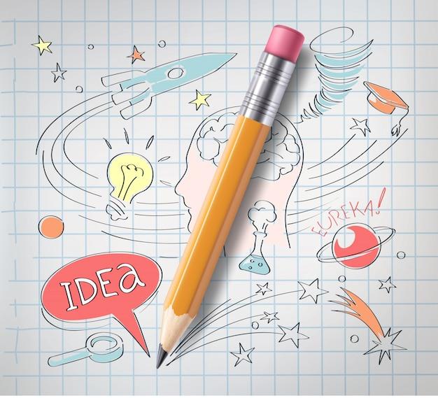 Realistyczny ołówek na papierze z kolorowych szkic kreatywnych edukacji