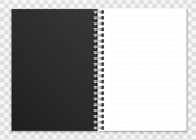 Realistyczny otwarty notatnik. notatnik lub zeszyt ze spiralnie oprawionymi stronami i ilustracją okładki