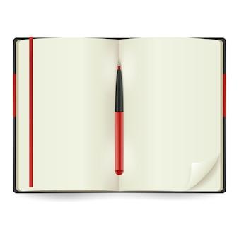 Realistyczny otwarty notatnik