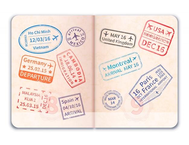 Realistyczny otwarty paszport zagraniczny