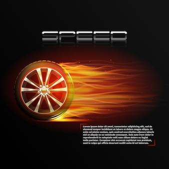 Realistyczny płonący koło opony sporta prędkości ekstremalny plakat