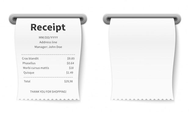 Realistyczny paragon. prowizja rozliczeniowa transakcja papierowa czek w restauracji, kawiarni, sklepie bankowym i supermarkecie