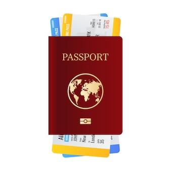 Realistyczny paszport międzynarodowy z biletami