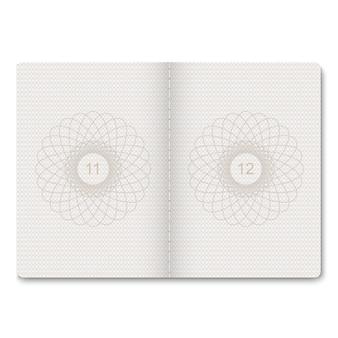 Realistyczny paszport puste strony na znaczki. pusty paszport ze znakiem wodnym.