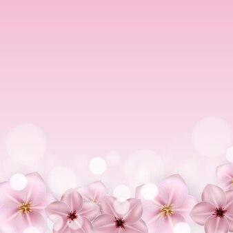 Realistyczny piękny 3d sprind i letni różowy kwiat