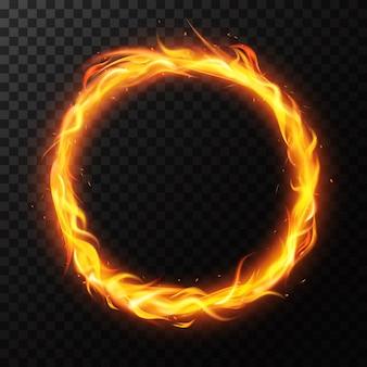 Realistyczny pierścień ognia. obręcz koła płonącego płomienia, czerwone płonące okrągłe światło, ilustracja ramki pierścienia ognistego cyrku. pierścień ognia realistyczny, lekki blask koła