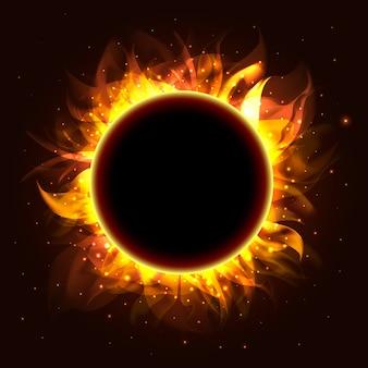 Realistyczny pierścień ognia z cząstkami ognia