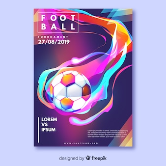 Realistyczny piłka nożna plakat szablon