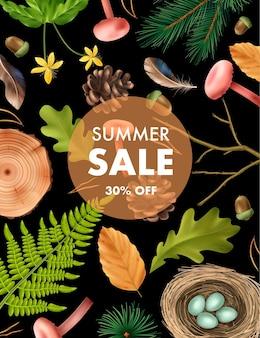 Realistyczny plakat botaniczny z pionową kompozycją edytowalnego tekstu i obrazami leśnych liści i ilustracji grzybów