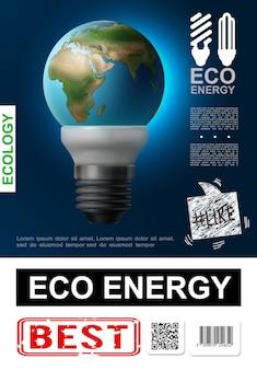 Realistyczny plakat eko energii z planetą ziemię zamiast szkła w nowoczesnej żarówce na niebieskiej ilustracji