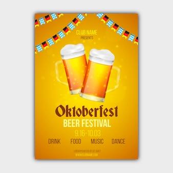 Realistyczny plakat festiwalu oktoberfest