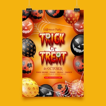 Realistyczny plakat halloween party