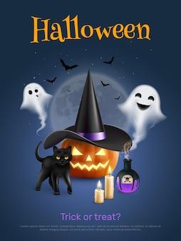Realistyczny plakat halloween z dyniowym czarnym kotem i uroczym duchem