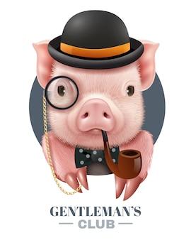 Realistyczny plakat klubu dżentelmenów