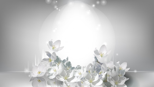 Realistyczny plakat kosmetyczny, spadające kwiaty jaśminu