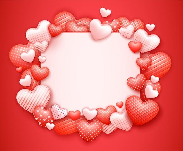 Realistyczny plakat lub baner sprzedaży walentynki ze słodkimi sercami