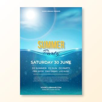 Realistyczny plakat na przyjęcie letnie