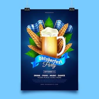 Realistyczny plakat oktoberfest z kuflem piwa