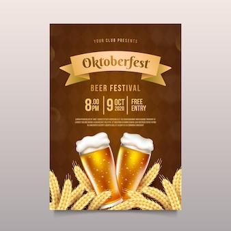 Realistyczny plakat oktoberfest z piwem