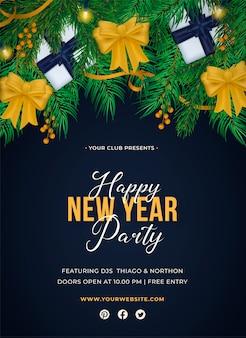 Realistyczny plakat party szczęśliwego nowego roku