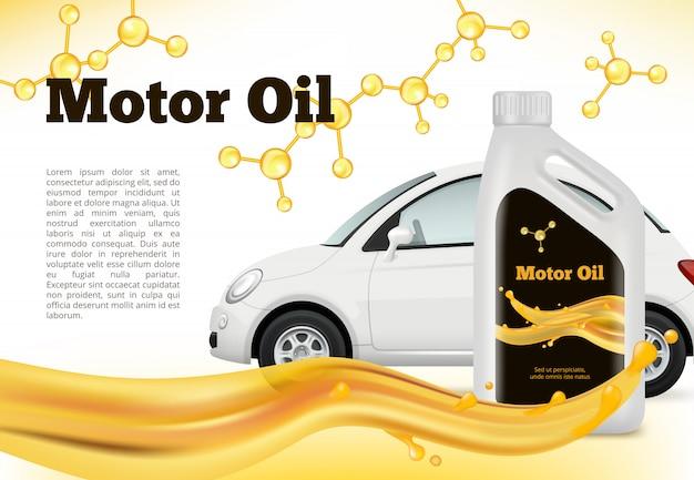 Realistyczny plakat samochodu. wektorowe ilustracje reklamujące oleje samochodowe