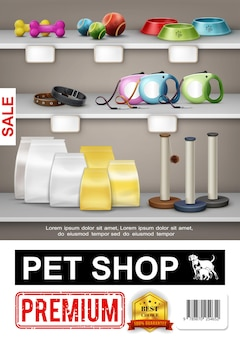 Realistyczny plakat sklepu zoologicznego z kolorowymi kulkami kości miski obroże smycze plastikowe torby kot drapie posty ilustracja
