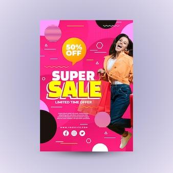 Realistyczny plakat sprzedażowy ze zdjęciem