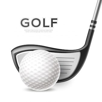 Realistyczny plakat turnieju golfowego z kijem golfowym i piłką