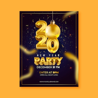Realistyczny plakat / ulotka nowego roku 2020