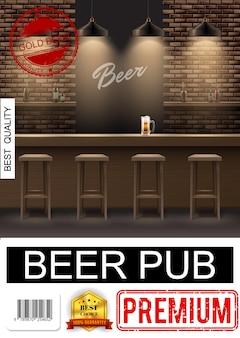 Realistyczny plakat wnętrza pubu z krzesłami, szklanką piwa na ladzie barowej i butelkami alkoholu na półkach