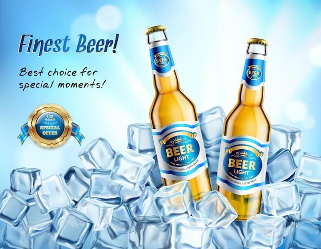 Realistyczny plakat z lekkim piwem ad